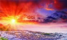 落日 青山图片