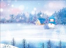 冬天蓝色背景图片