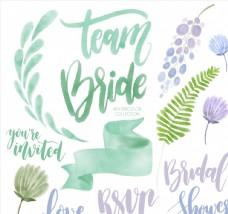 婚礼元素和艺术字图片