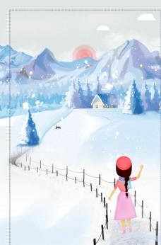雪地美女图片