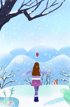 雪中美女背影图片