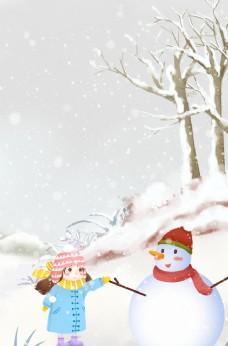 冬天卡通女孩图片