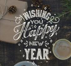 新年快乐祝福艺术字图片