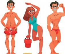 沙滩休闲度假人物图片