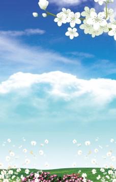 蓝天白云草地图片
