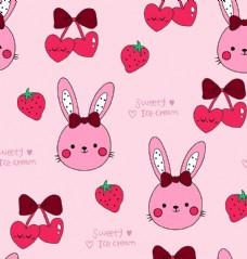 卡通兔子草莓圖片