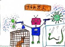 儿童简笔画子航科学之消毒器人图片