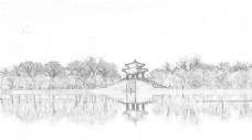 杭州西湖风景线性稿图片