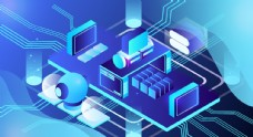 科技数据金融商务互联网AI矢量图片