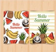 彩绘夏季水果卡片图片