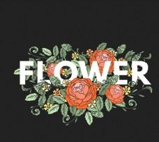 玫瑰花装饰花卉艺术字图片
