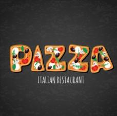 披萨意大利餐馆艺术字图片