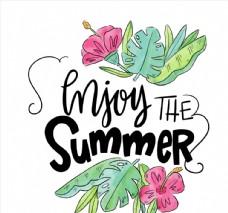 夏季花草艺术字图片