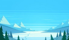 森林雪山图片