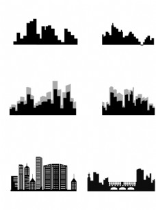 一组黑色系城市剪影图片