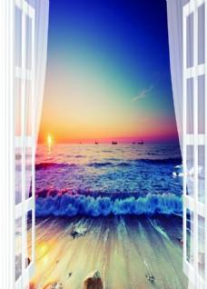 窗户风景图图片