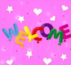 欢迎气球艺术字图片