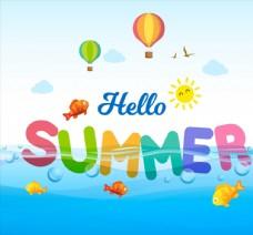 夏季艺术字矢量图片