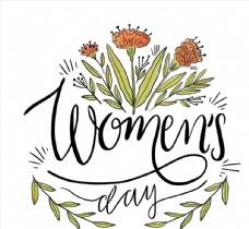 妇女节花卉艺术字图片