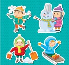 可爱冬季儿童贴纸图片