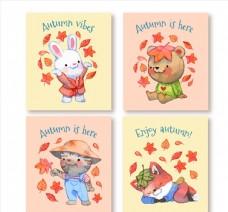 落叶中的动物卡片图片