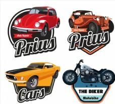 轿车和摩托车标签图片