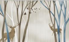 鹿树干腰线装饰画图片