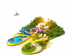 创意设计海滩景观拖鞋泳池遮阳伞图片