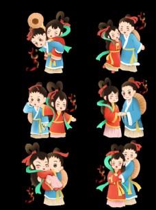 七夕节牛郎织女可爱插画图片