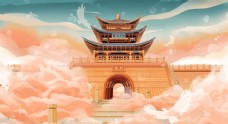 国潮大理古城建筑物插画图片