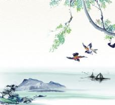 喜鹊山水图片