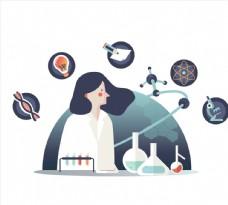 科学研究女子图片