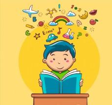 卡通读书的男孩图片