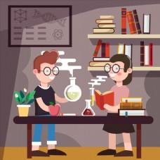 做科学实验的学生图片