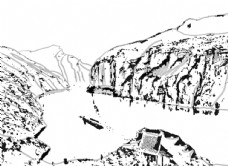 山水手绘线稿图图片