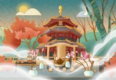 大气国潮风建筑物插画图片