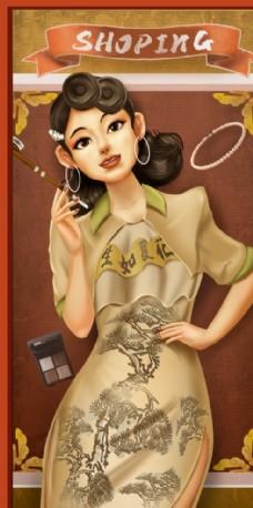 國潮插畫老上海女人海報圖片