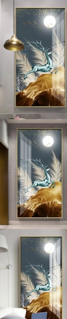 创意羽毛麋鹿抽象风景装饰画玄关图片