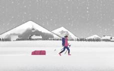 行走在雪地里的人图片