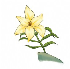 手绘黄花植物元素图片