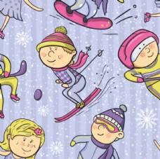 滑雪儿童无缝印花背景素材图片