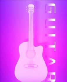 炫彩紫色质感吉他建模及张贴海报图片