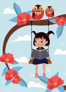 秋千上读书的女孩图片