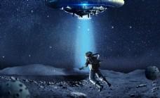 飞碟太空人宇宙背景素材psd图片