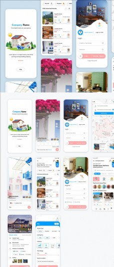 xd租房蓝色白色UI设计启动页图片