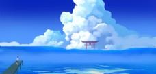蓝色天空治愈插画背景海报素材图片