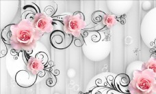 浮雕花花藤玫瑰背景墙图片
