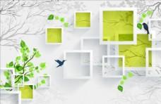 树框框飞鸟背景墙图片