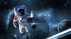 太空人宇宙背景模板图片