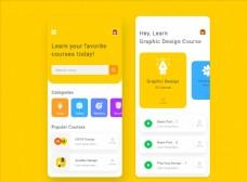 xd在线教育黄色UI设计app图片